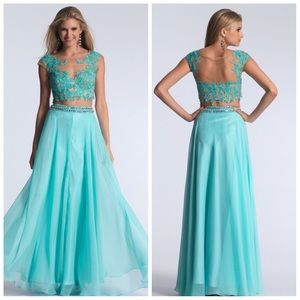 Dave & Johnny Prom Pageant Aqua Evening Gown